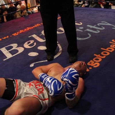 Shane Weir down but not out. Belfast's ProKick event at the Stormont hotel 23rd FEB 2019