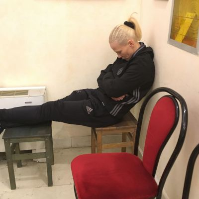 Cathy gets in a little rest at the Venue just hours before the match