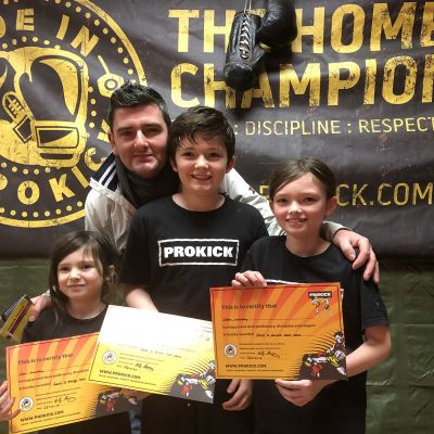 The Murphy Family step up another level at the ProKick Gym. Well done Lani, Bodhi  & Eden.