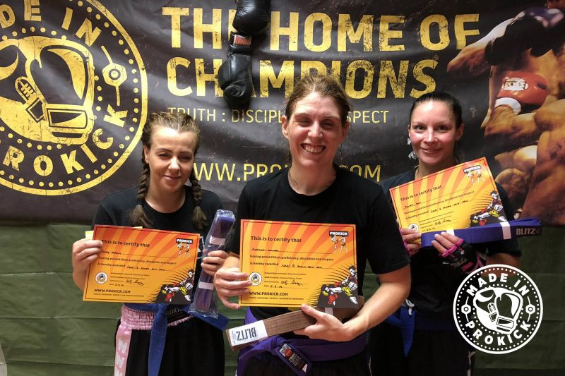 Three Top new grades at Prokick; Kathryn moved to Brown belt & Tracy and Rowena respectfully to Purple belt level.