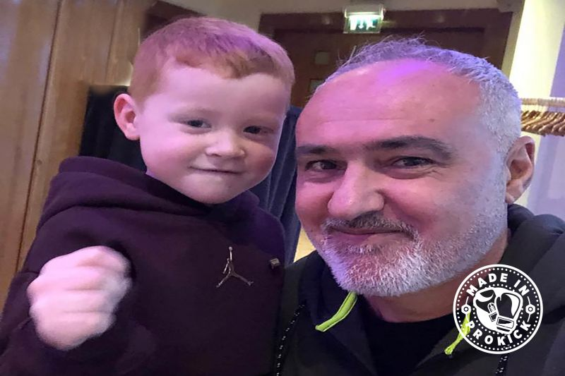 The next Generation for WKN fighters 4 year-old Leo Smith gets the thumbs up from #WKN world President Mr Stephane Cabrera