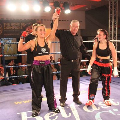 Winner Rachel Mc Cartan takes the closely fought contest on points