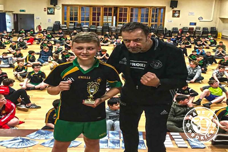 Micheal Flanagan being crowned St Mary's CBGS ProKick Says champion.