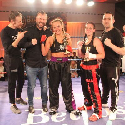 The winning group with sponsor - Air-Tastic Bangor Rachel McCartan (WINNER Points) (Belfast, NI) Vs Amy Oglesbee (Boston, Lincolnshire)